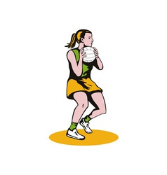 Netball player catching ball vector