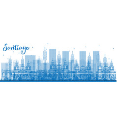 outline santiago chile skyline with blue buildings vector image vector image
