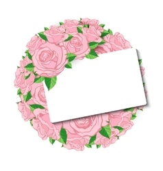 Pink roses with a card for the invitation and vector image vector image