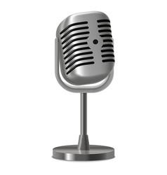 Realistic detailed vintage metal studio microphone vector