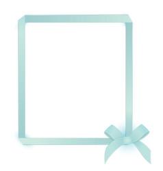 Ribbon blue bow frame vector