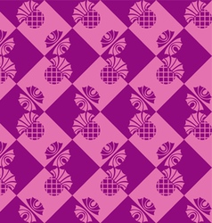 Seamless checkered background with flowers thistle vector