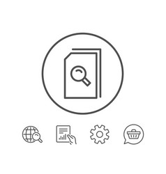search documents line icon file with magnifier vector image