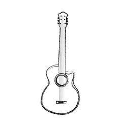 sketch draw guitar cartoon vector image