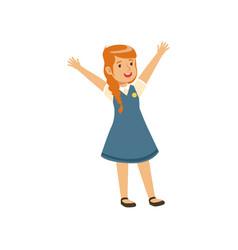 Smiling girl character in school uniform standing vector