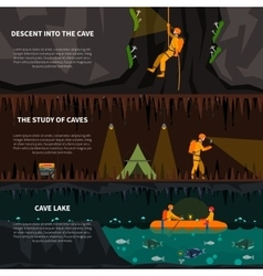 Speleiologists in cave flat banners set vector