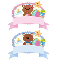Two label design with teddybears and toys vector