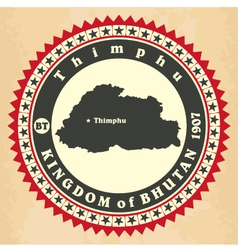 Vintage label-sticker cards of kingdom of bhutan vector