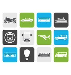 Flat travel and transportation of people icons vector