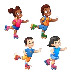 Rollerblading children boys and girls african vector