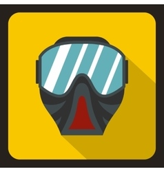 Paintball mask icon flat style vector