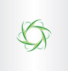 Green quantum atom biology icon vector
