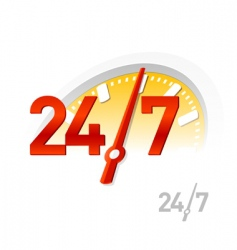 24 7 sign vector image