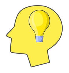 burning light bulb in human head icon vector image