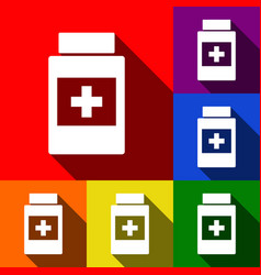 medical container sign  set of icons with vector image