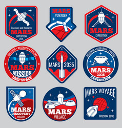 mars colonization retro space logos and vector image