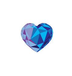 Low poly blue crystal bright hearts vector