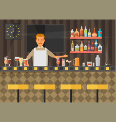 Bar counter with stools and alcohol drink on vector
