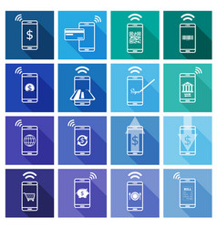 Set of mobile payment flat design icon vector