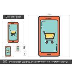 Online shop line icon vector