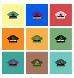 Collection of icons and sea cap vector