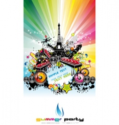 Paris disco event background vector image