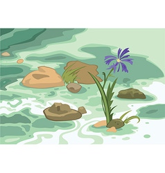 Cartoon flowers stones and brook vector