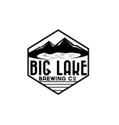 Lake and mountains on brewing company label vector