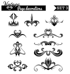Set 3 vintage page decorations vector