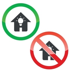 House light permission signs set vector