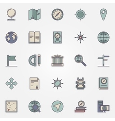 Geography flat icon set vector