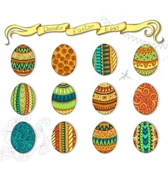 Doodle happy easter set with eggs vector