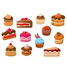 Cakes cupcakes pies pudding and desserts vector image