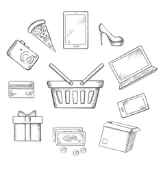 Trading sketch icons for online shopping vector