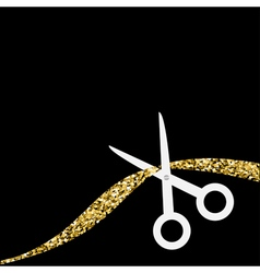 Scissors cut the ribbon flat design style gold vector