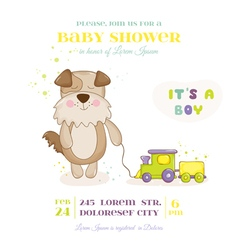 Baby shower or arrival card - baby dog with train vector