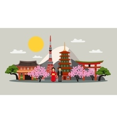 Japan symbols composition flat poster vector