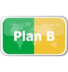 Plan b words on web button icon isolated on vector