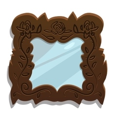 Vintage wooden mirror with floral patterns vector