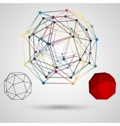 Colorful frame of the polygon with points at the vector image