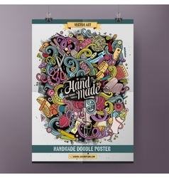Cartoon hand drawn doodles handmade poster vector