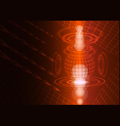 abstract digital technology red background vector image