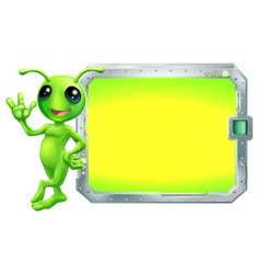 Alien with sign or screen vector
