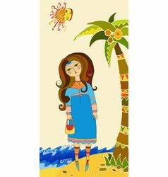 beautiful girl on a beach vector image