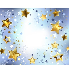 Blue Background with Gold Stars vector image vector image