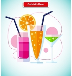 Cocktails menu icon variety of beverages vector