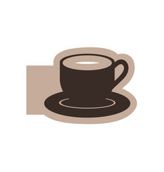 color emblem with silhouette cup coffee with dish vector image vector image