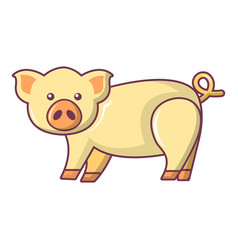 cute pig icon cartoon style vector image