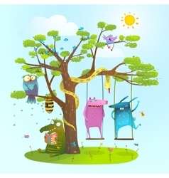 Cute summer animals freinds playing under the tree vector