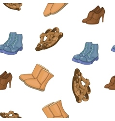 Different types of shoes pattern cartoon style vector